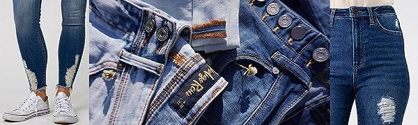 Indigo Rein Jeans Exposed Button Double Button Destructed hem Destructed.