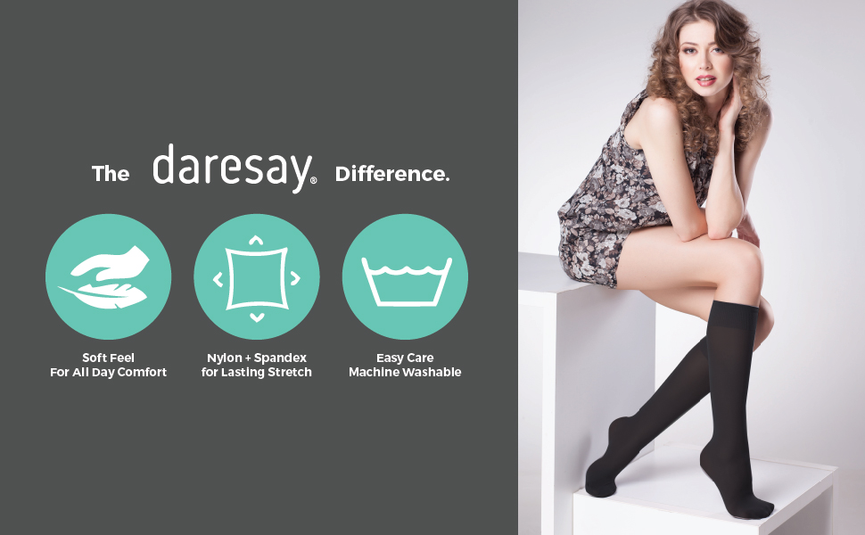 daresay difference soft feel comfortable socks knee and crew length easy care excellent stretch