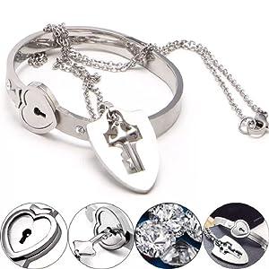 bracelet, stainless steel, bracelet combo, lock and key, jewelry