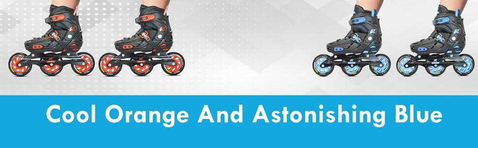 Kamachi Inline Roller Skates Cool Orange and Astonishing Blue