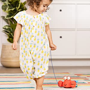 pull along toy, push and pull, toy lobster, walking, walker, string, animal, baby, toddler