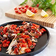 SAUTÉED TILAPIA WITH CHERRY TOMATOES AND OLIVES