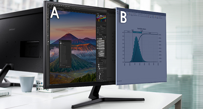 25% of the screen displaying second source with Picture-by-Picture Optimized onscreen multi-tasking