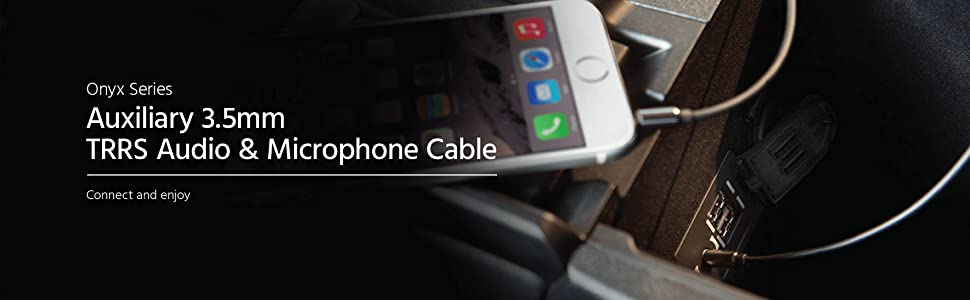 Auxiliary 3.5mm TRRS Audio & Microphone Cable Connect smartphone to your headphones with microphone