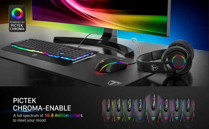 Amazon Com Pictek Gaming Mouse Wired 8 Programmable Buttons Chroma Rgb Backlit 7200 Dpi Adjustable Comfortable Grip Ergonomic Optical Pc Computer Gaming Mice With Fire Button Black Upgraded Version Computers Accessories