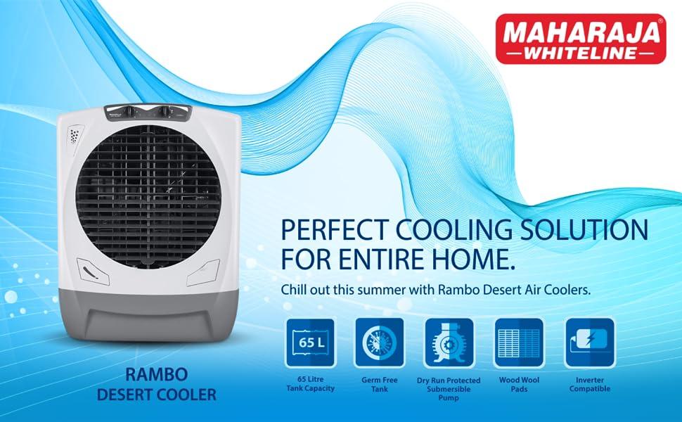 Maharaja Whiteline Rambo AC-303 65 L Air Cooler (White and Grey)