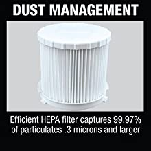 dust management HEPA filter particulates microns large efficient white