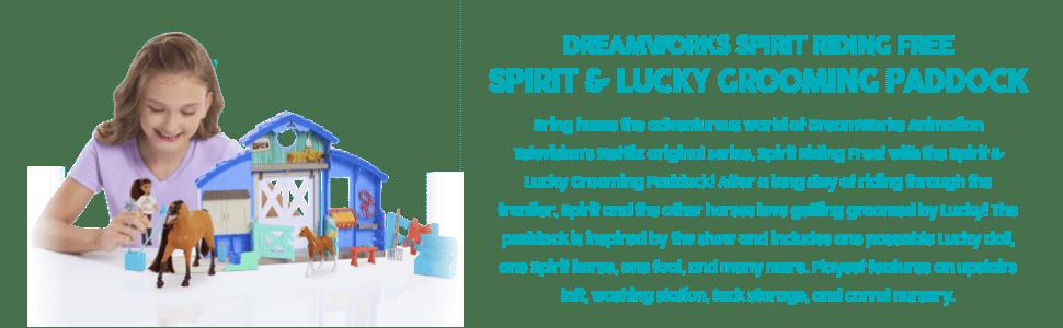 Espírito da Dreamworks que monta espírito livre e paddock de sorte