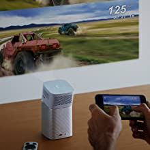 Portable battery projector