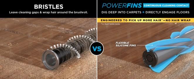 powerfins, powerful suction, carpet vacuum, hard floor vacuum, vacuum bristles