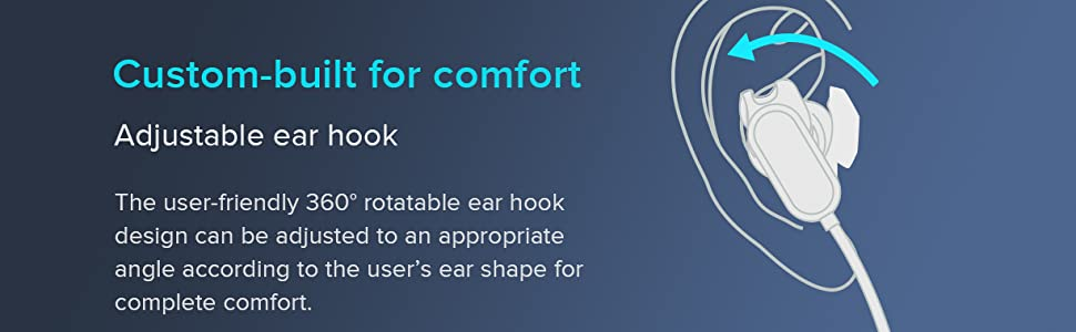 adjustable ear hook, comfortable 360 degree rotatable