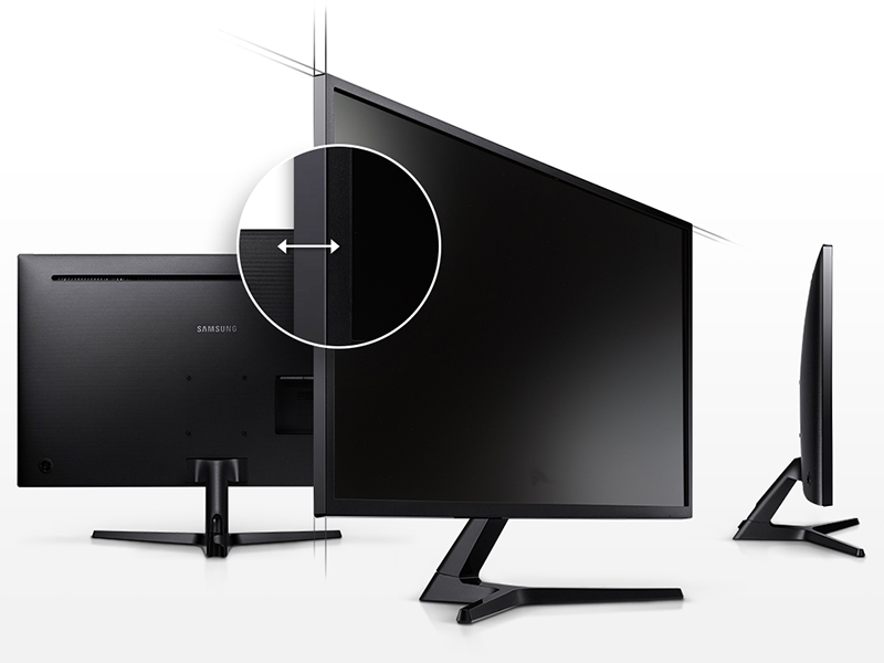 Side and angled shots of Samsung 4K UHD monitor to show slim screen bezels