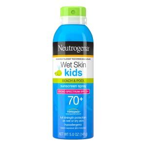 Neutrogena Wet Skin Water-Resistant Kids Sunscreen Face Body Spray Mist with Broad Spectrum SPF 70+