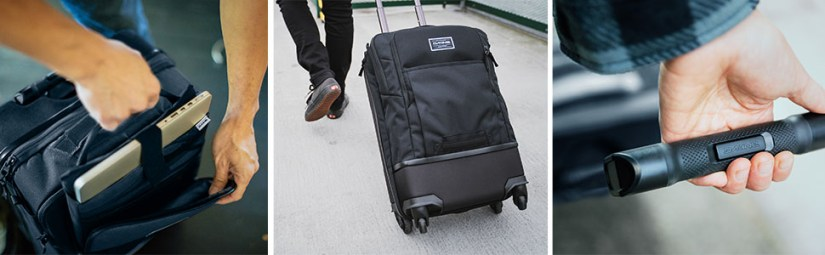 Dakine Terminal Spinner Roller Luggage with laptop compartment and stowable handle.