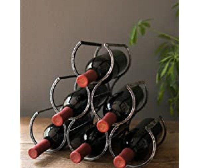 Country Home Wine Shrine By Twine 6 Bottle Free Standing Metal Wine Rack