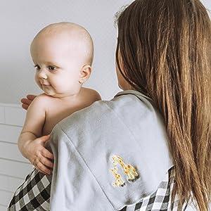 baby mom giraffe burping essentials comfortable cotton natural