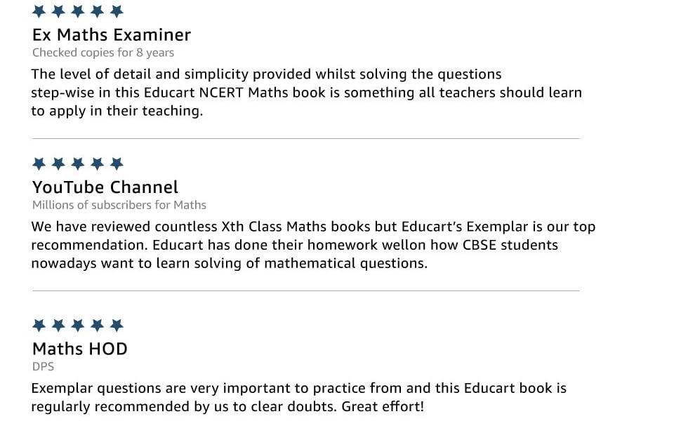 reviews, ncert exemplar maths educart class 10