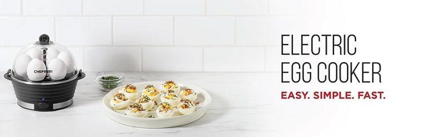electric egg boiler;cooker;hard boiled;poacher;steamer;;6 egg capacity;rapid;countertop;poaching