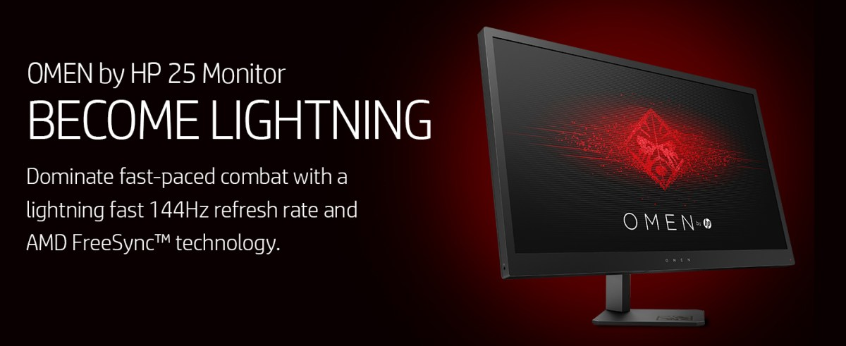 OMEN by HP 25 Monitor fast lightning dominate amd freesync 144hz refresh rate game gaming games