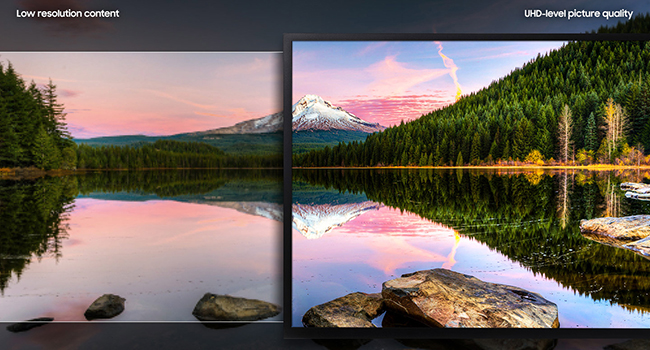 Side-by-side comparison of low resolution content vs. UHD level display of Samsung 4K UHD Monitor