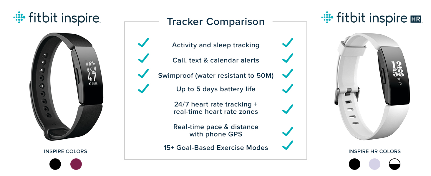 Compare Fitbit Inspire and Fitbit Inspire HR
