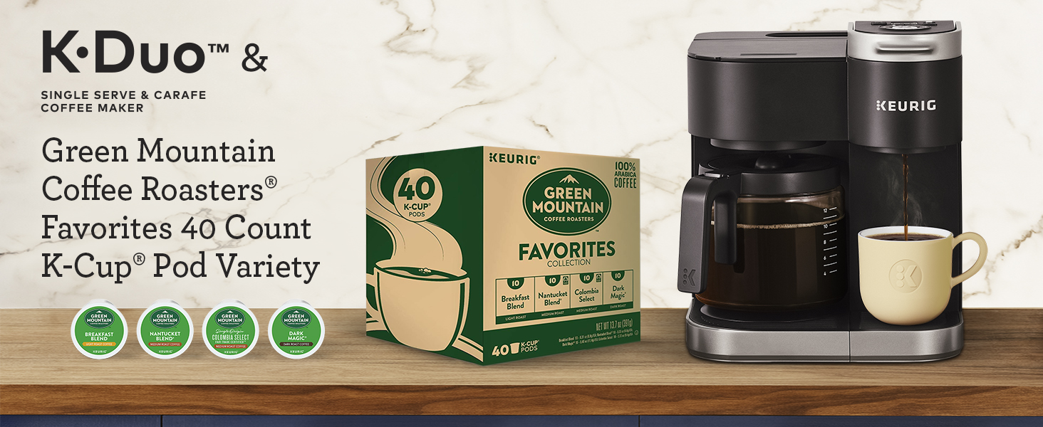 K-Duo Coffee Maker with Green Mountain Favorites Collection, 40 count