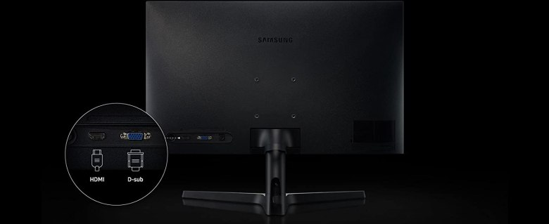 Back of the Samsung SR35 Series monitor, showing the ports