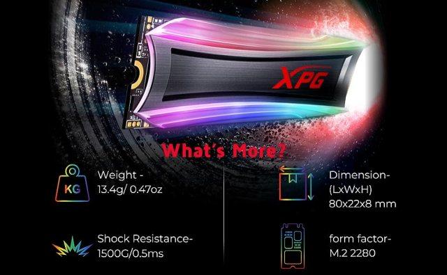 XPG S40G 512GB RGB 3D NAND PCIe Gen3x4 NVMe SPN-FOR1