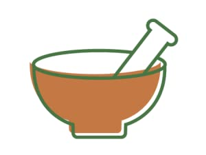 Illustration of a mortar and pestle to represent it versatility to add into your routine