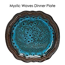 embossed blue brown round oval oblong stoneware dinnerware dish set for 4 microwave dishwasher safe