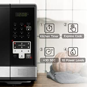 For reheating or cooking foods, use Time Cook and choose from one of 10 power levels.