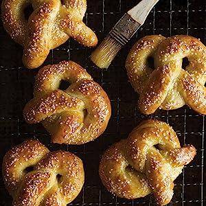 pretzels, butter, savory, snacks, baking, cookbook, king arthur baking, salt