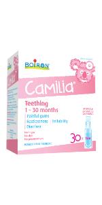 Camilia, dentition, gencives douloureuses, bébé, Boiron, douleur de dentition,