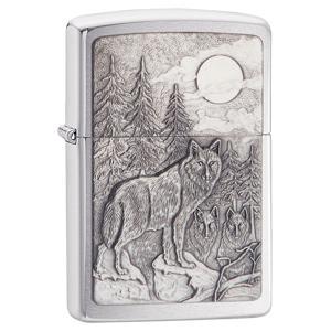 brushed chrome lighter, emblem, emblem lighter, zippo emblem lighter, wolf lgihter