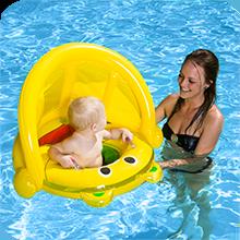 Flutuador da piscina infantil, flutuador do bebê com sombra, dossel de natação do bebê, bebê aprender a nadar, flutuador do bebê inflável