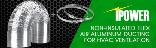 iPower Non-Insulated Flex Air Aluminum Ducting for HVAC Ventilation