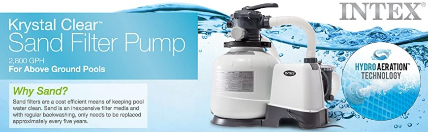 Intex Krystal Clear Sand Filter Pump For Above Ground Pools, 2800 GPH
