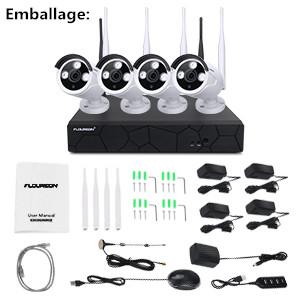Surveillance par Phone FLOUREON Kit de Surveillance sans Fil Etanches Vision Nocturne FLOUREON USB