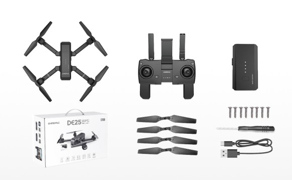 4-DEERC DE25 Drone with Camera 1080P HD Camera Drone FPV Live Video and GPS