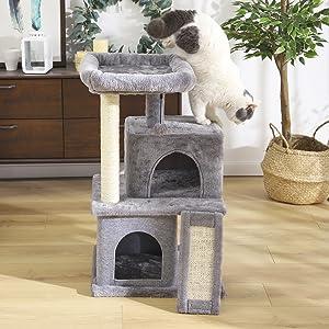 Eono Essentials Árboles para Gatos rasguña los Postes de sisal Natural con Bola de Juguetes Gris