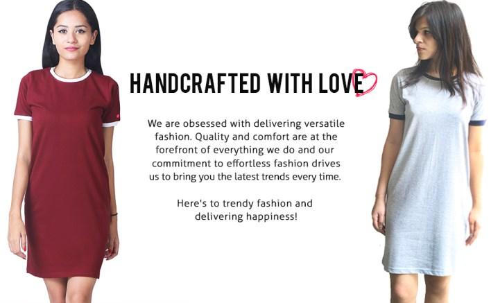 plain basic casual wardrobe essential fashion style half sleeve women girls ladies round neck dress