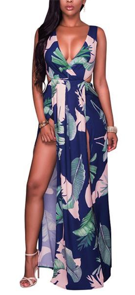 LKOUS Sexy Sleeveless V-Neck Split Long Beach Dress Floral Print Bodycon Maxi Dress