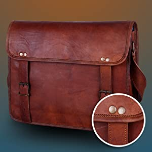 Handcrafted Classic Leather Messenger Satchel crossbody shoulder Laptop Bag
