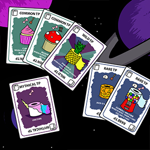 Sets of toilet paper cards in front of a space background