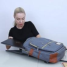 laptop backpack vintage flap backpack retro backpack rucksack for men women student