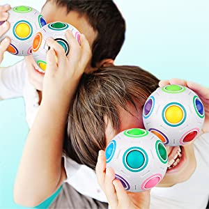 Coogam Rainbow Puzzle Ball Bundle with Pouch Color-Matching Game Fidget Toy Stress Reliever Magic