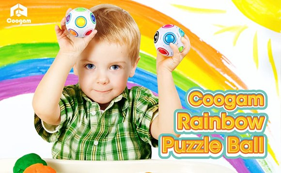 Coogam Rainbow Puzzle Ball with Pouch Color-Matching Puzzle Game Fidget Toy
