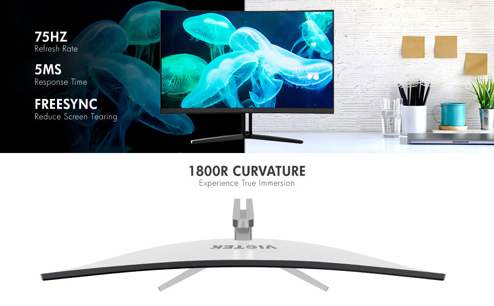 1080p 1800R curved monitor 75Hz refresh rate and 5ms response time
