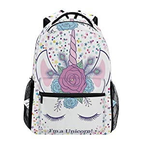 cream unicorn head backpack