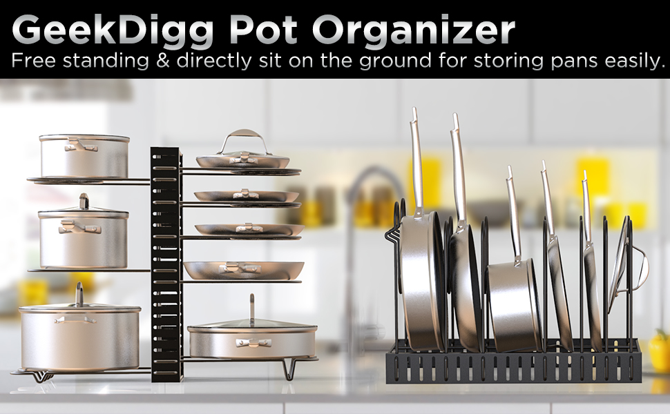Free standing pot rack organizer for storing pans and pots